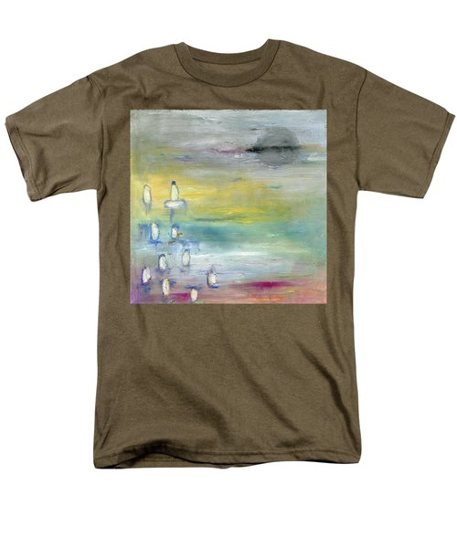 Men's T-Shirt  (Regular Fit) featuring the painting Indian Summer Over The Pond by Michal Mitak Mahgerefteh