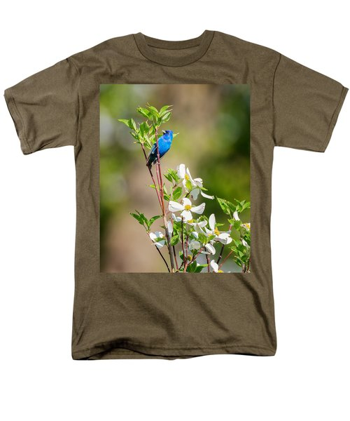 Indigo Bunting In Flowering Dogwood Men's T-Shirt  (Regular Fit) by Bill Wakeley