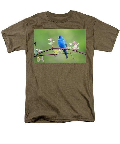Indigo Bunting Perched Men's T-Shirt  (Regular Fit) by Bill Wakeley