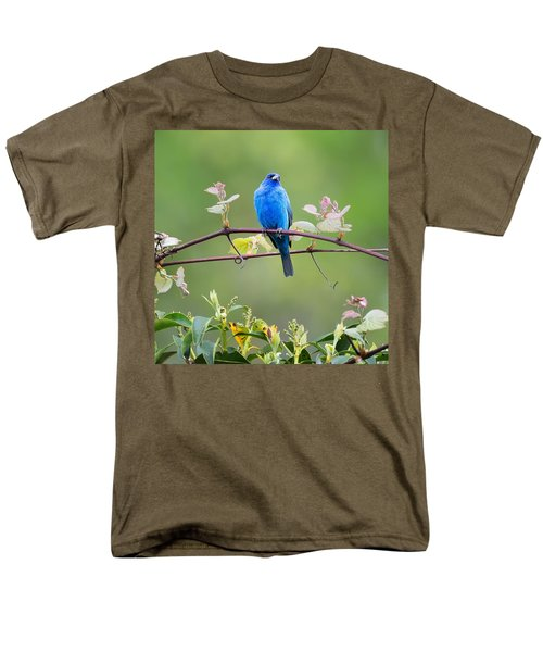 Indigo Bunting Perched Square Men's T-Shirt  (Regular Fit) by Bill Wakeley