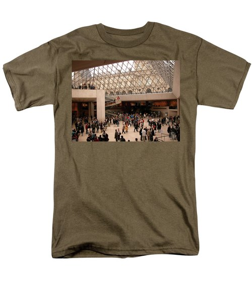 Men's T-Shirt  (Regular Fit) featuring the photograph Inside Louvre Museum Pyramid by Mark Czerniec