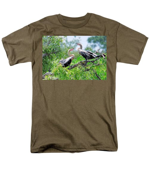 Men's T-Shirt  (Regular Fit) featuring the photograph Interacting Young Anhingas by Rosalie Scanlon