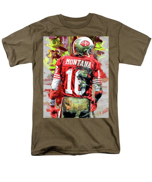 Joe Montana Football Digital Fantasy Painting San Francisco 49ers Men's T-Shirt  (Regular Fit) by David Haskett