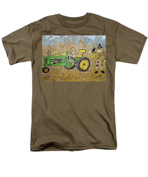Men's T-Shirt  (Regular Fit) featuring the painting John Deere Tractor And The Scarecrow by Kathy Marrs Chandler