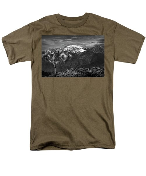 Men's T-Shirt  (Regular Fit) featuring the photograph Joshua Tree At Keys View In Black And White by Randall Nyhof