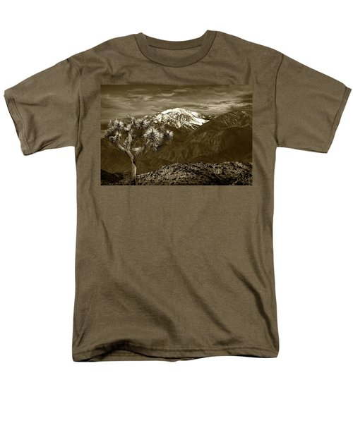 Men's T-Shirt  (Regular Fit) featuring the photograph Joshua Tree At Keys View In Sepia Tone by Randall Nyhof