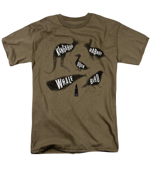 Kangaroo - Rabbit - Duck - Whale - Bird In Black Men's T-Shirt  (Regular Fit) by Aloke Creative Store