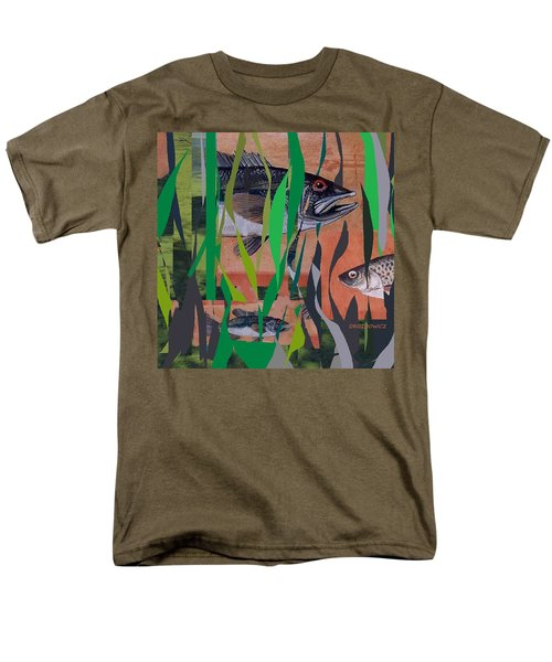 Men's T-Shirt  (Regular Fit) featuring the mixed media Lake Habitat by Andrew Drozdowicz