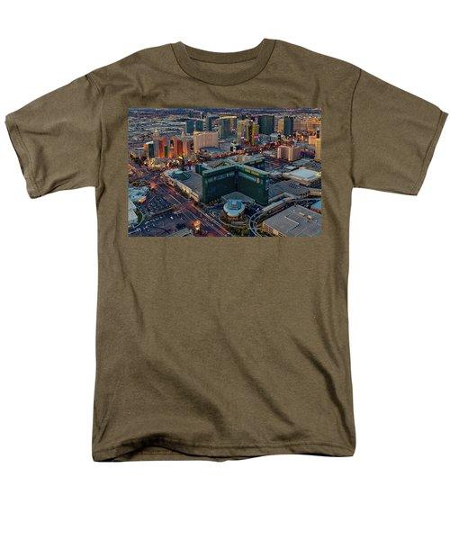 Men's T-Shirt  (Regular Fit) featuring the photograph Las Vegas Nv Strip Aerial by Susan Candelario