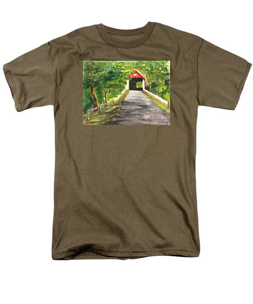 Men's T-Shirt  (Regular Fit) featuring the painting Late Afternoon At Knechts Covered Bridge   by Lucia Grilletto