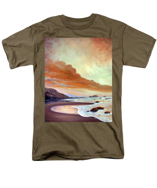 Men's T-Shirt  (Regular Fit) featuring the painting Late Afternoon On San Simeon Beach by Michael Rock