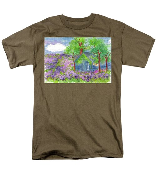 Men's T-Shirt  (Regular Fit) featuring the painting Lavender Fields by Cathie Richardson