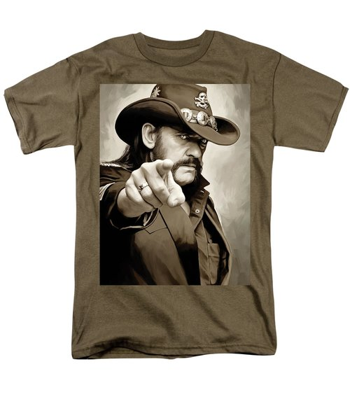 Men's T-Shirt  (Regular Fit) featuring the painting Lemmy Kilmister Motorhead Artwork 1 by Sheraz A