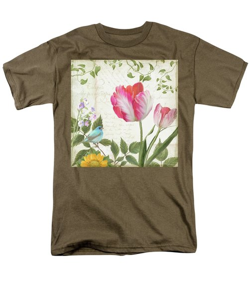 Les Magnifiques Fleurs IIi - Magnificent Garden Flowers Parrot Tulips N Indigo Bunting Songbird Men's T-Shirt  (Regular Fit) by Audrey Jeanne Roberts