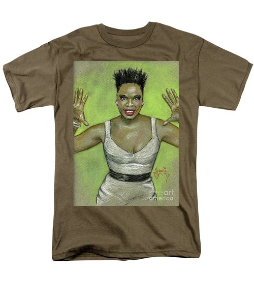 Men's T-Shirt  (Regular Fit) featuring the drawing Leslie Jones by P J Lewis