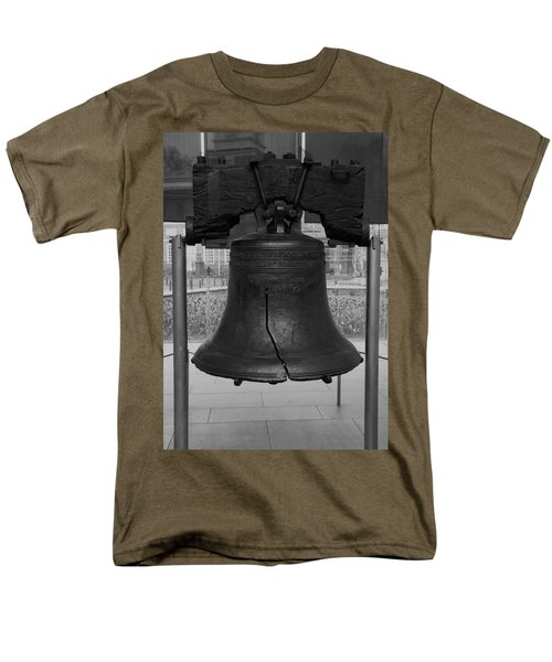 Men's T-Shirt  (Regular Fit) featuring the digital art Liberty Bell Bw by Chris Flees