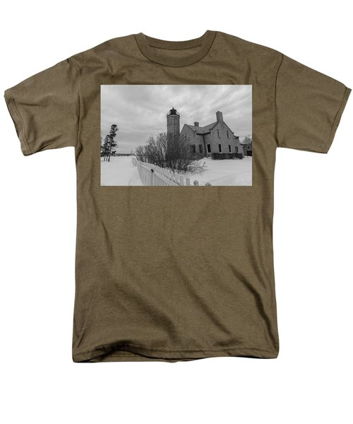 Men's T-Shirt  (Regular Fit) featuring the photograph Lighthouse And Mackinac Bridge Winter Black And White  by John McGraw
