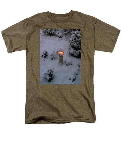 Men's T-Shirt  (Regular Fit) featuring the photograph Lighthouse In The Snow by Kathryn Meyer