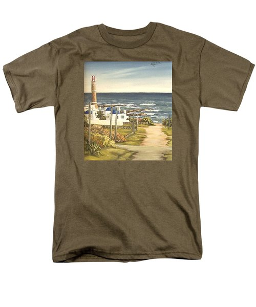 Men's T-Shirt  (Regular Fit) featuring the painting Lighthouse Uruguay  by Natalia Tejera