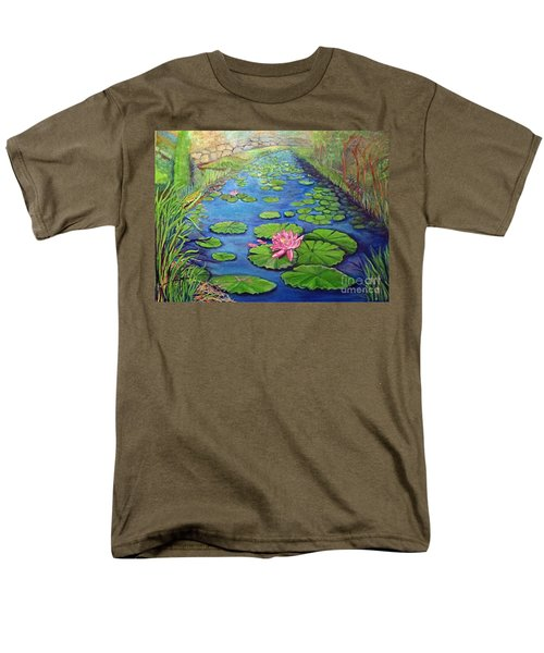 Men's T-Shirt  (Regular Fit) featuring the painting Water Lily Canal by Ecinja Art Works