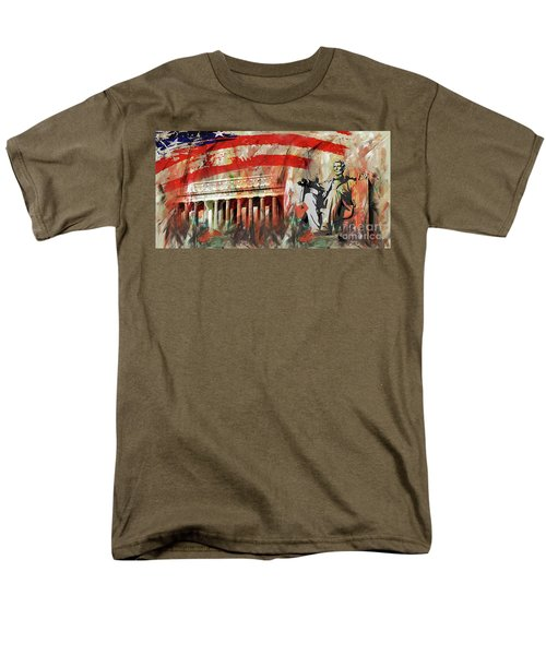 Men's T-Shirt  (Regular Fit) featuring the painting Lincoln Memorial And Lincoln Statue by Gull G