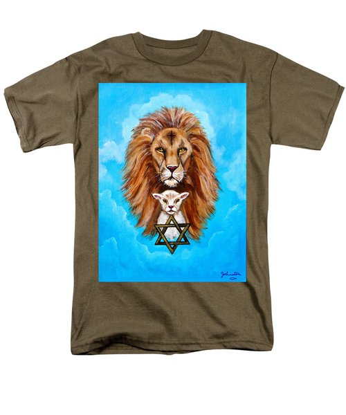 Men's T-Shirt  (Regular Fit) featuring the painting Lion Lies Down With A Lamb by Bob and Nadine Johnston