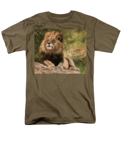 Men's T-Shirt  (Regular Fit) featuring the painting Lion Resting by David Stribbling