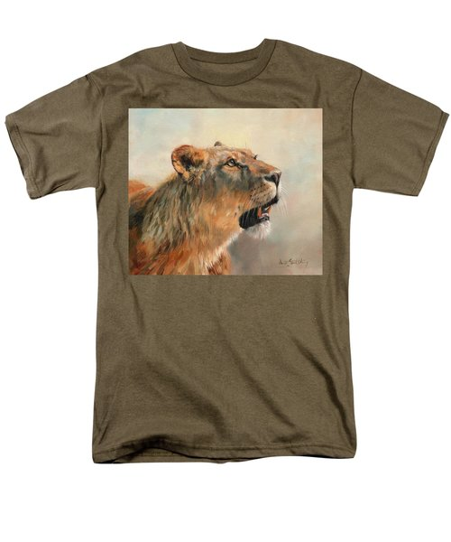 Men's T-Shirt  (Regular Fit) featuring the painting Lioness Portrait 2 by David Stribbling