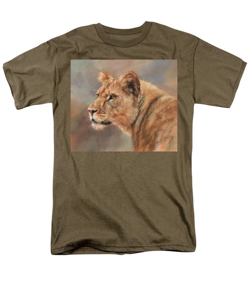 Men's T-Shirt  (Regular Fit) featuring the painting Lioness Portrait by David Stribbling