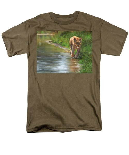 Lioness. Water's Edge Men's T-Shirt  (Regular Fit) by David Stribbling