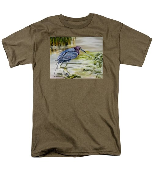 Men's T-Shirt  (Regular Fit) featuring the painting Little Blue Heron In The Bay by Phyllis Beiser