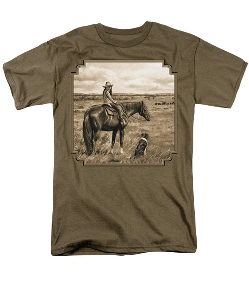 Little Cowgirl On Cattle Horse In Sepia Men's T-Shirt  (Regular Fit) by Crista Forest