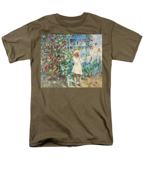 Little Girl With Roses  Men's T-Shirt  (Regular Fit) by Pierre Van Dijk