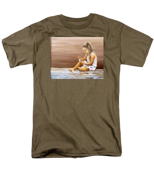 Men's T-Shirt  (Regular Fit) featuring the painting Little Girl With Sea Shell by Natalia Tejera