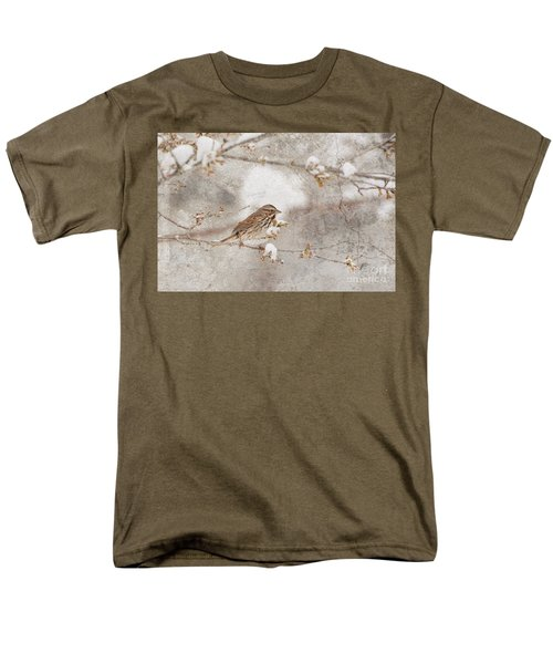 Men's T-Shirt  (Regular Fit) featuring the photograph Little House Sparrow by Lila Fisher-Wenzel