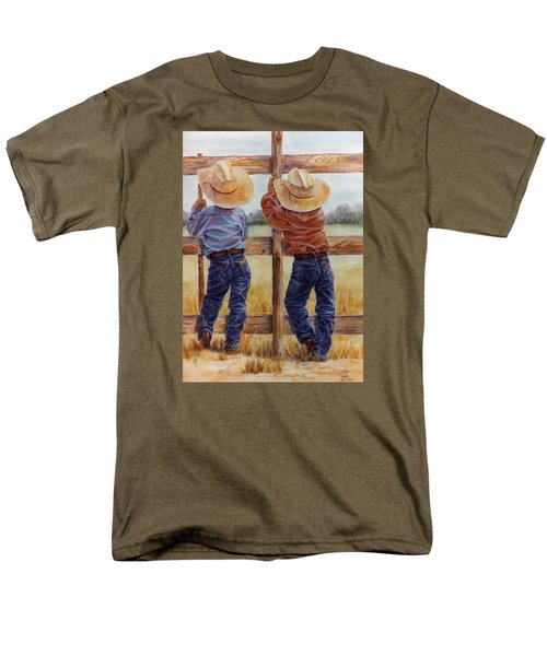 Men's T-Shirt  (Regular Fit) featuring the painting Little Wranglers by Ann Peck