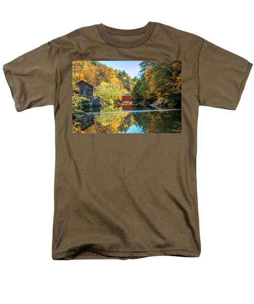 Mcconnell's Mill And Covered Bridge Men's T-Shirt  (Regular Fit) by Skip Tribby