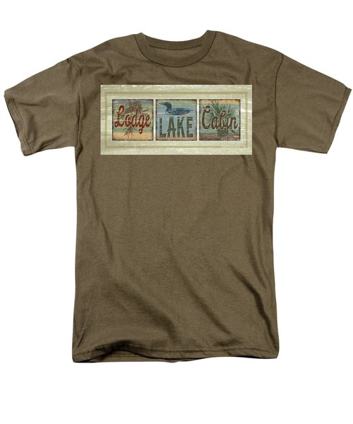 Lodge Lake Cabin Sign Men's T-Shirt  (Regular Fit) by Joe Low
