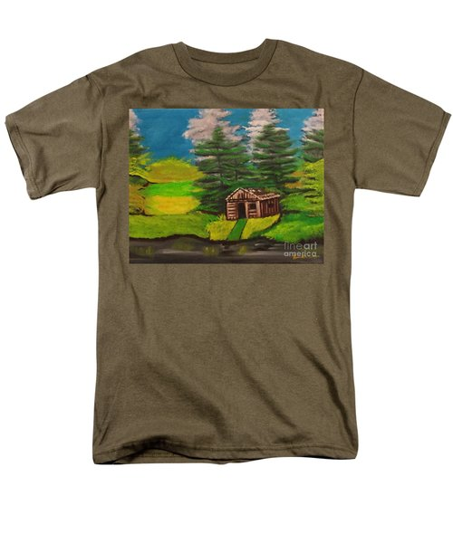 Men's T-Shirt  (Regular Fit) featuring the painting Log Cabin by Brindha Naveen