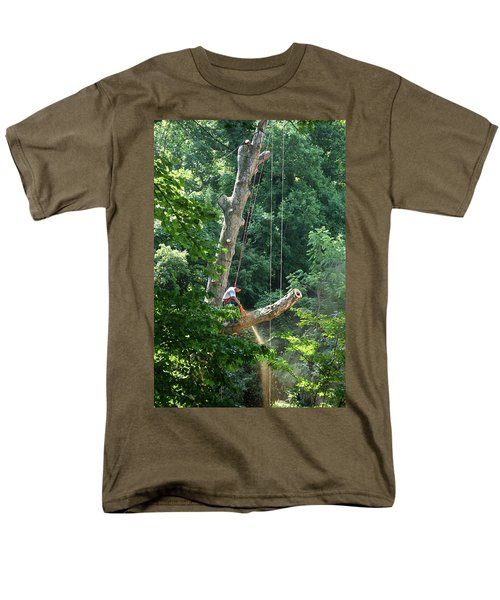 Men's T-Shirt  (Regular Fit) featuring the photograph Logger Cutting Down Large, Tall Tree by Emanuel Tanjala