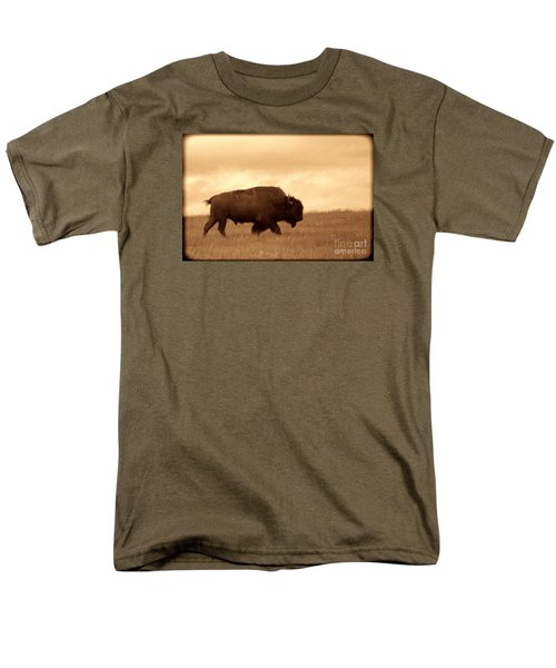 Lone Bison  Men's T-Shirt  (Regular Fit) by American West Legend By Olivier Le Queinec