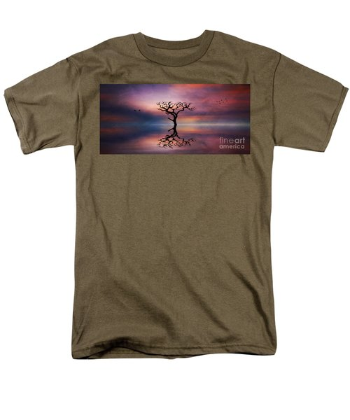 Men's T-Shirt  (Regular Fit) featuring the digital art Lone Tree Sunrise by Ian Mitchell