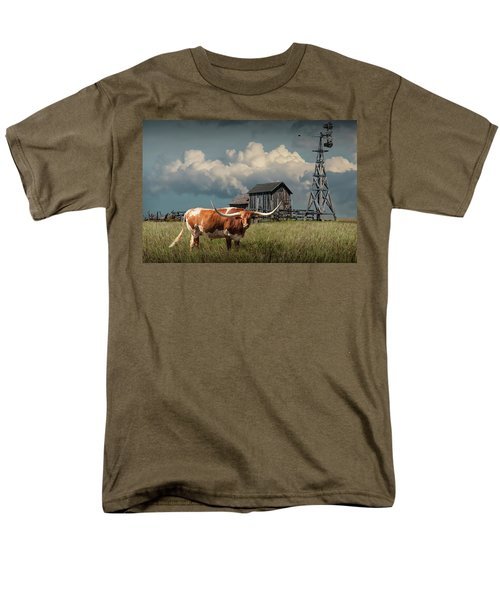 Longhorn Steer In A Prairie Pasture By Windmill And Old Gray Wooden Barn Men's T-Shirt  (Regular Fit) by Randall Nyhof