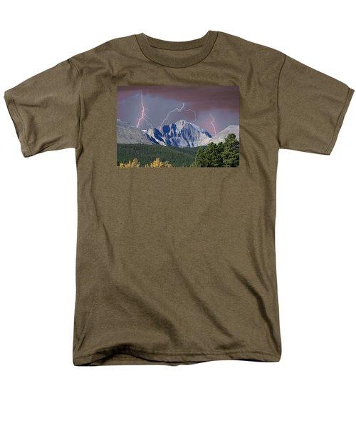 Longs Peak Lightning Storm Fine Art Photography Print Men's T-Shirt  (Regular Fit) by James BO  Insogna