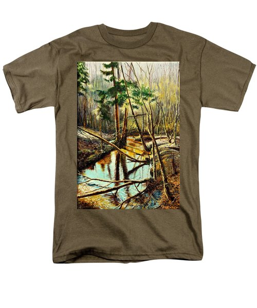 Men's T-Shirt  (Regular Fit) featuring the painting  Lubianka-1- River by Henryk Gorecki