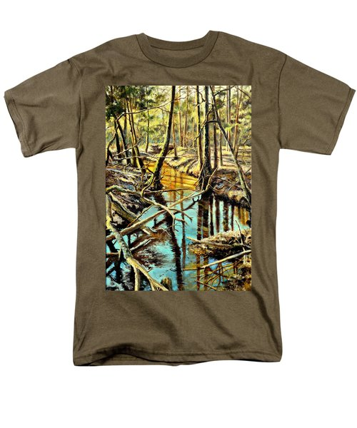 Men's T-Shirt  (Regular Fit) featuring the painting  Lubianka-3-river by Henryk Gorecki