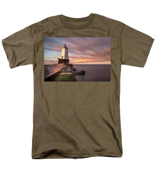 Men's T-Shirt  (Regular Fit) featuring the photograph Ludington Light Sunrise Long Exposure by Adam Romanowicz