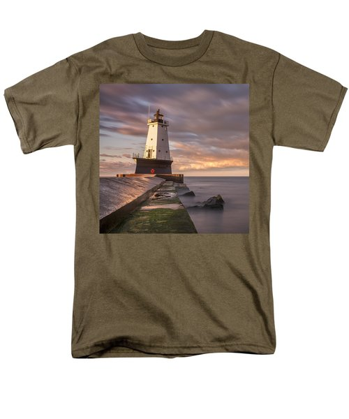 Men's T-Shirt  (Regular Fit) featuring the photograph Ludington North Breakwater Light At Dawn by Adam Romanowicz