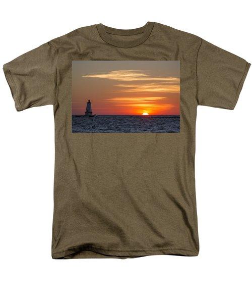 Men's T-Shirt  (Regular Fit) featuring the photograph Ludington North Breakwater Light At Sunset by Adam Romanowicz
