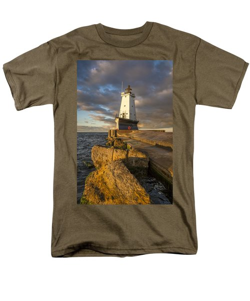 Men's T-Shirt  (Regular Fit) featuring the photograph Ludington North Breakwater Lighthouse At Sunrise by Adam Romanowicz
